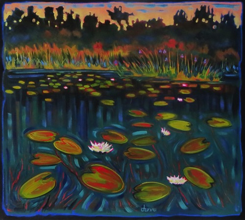 White Water Lilies with Water Iris 36 x 42  oil on canvas $3200