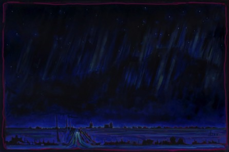 Approaching Aberdeen Prairie Winter Night  36 x 24 oil on canvas $1650