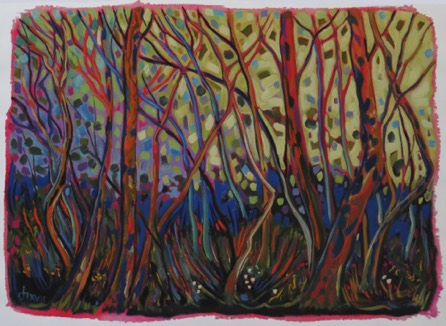 Forest Chaos  20 x 30  oil on paper unframed $850