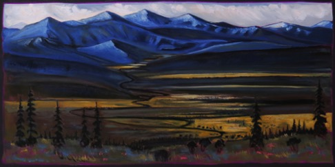Mountain Mood-Valley West of Caley, AB 24 x 48 oil on canvas  $2300 framed