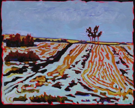Snow on Swaths  Rak Sask 16 x 20 sold