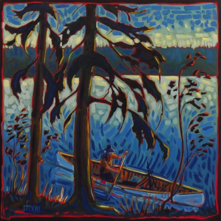 The Plein Air Painter, Waskesiu, Sask.   oil on canvas   28 x 28    $1600