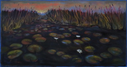 White Water Lilies and Cattails 32 x 60 $3900